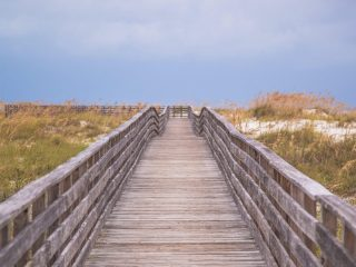 Boardwalk leading to the beach over dunes.