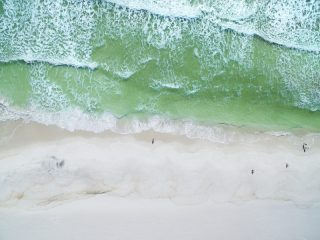 Top-down aerial view of a beach.